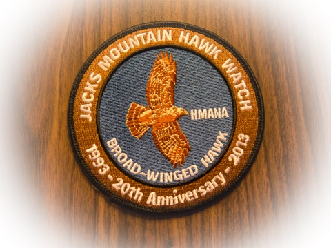 Jacks Mountain commemorative patch featuring a broadwinged hawk