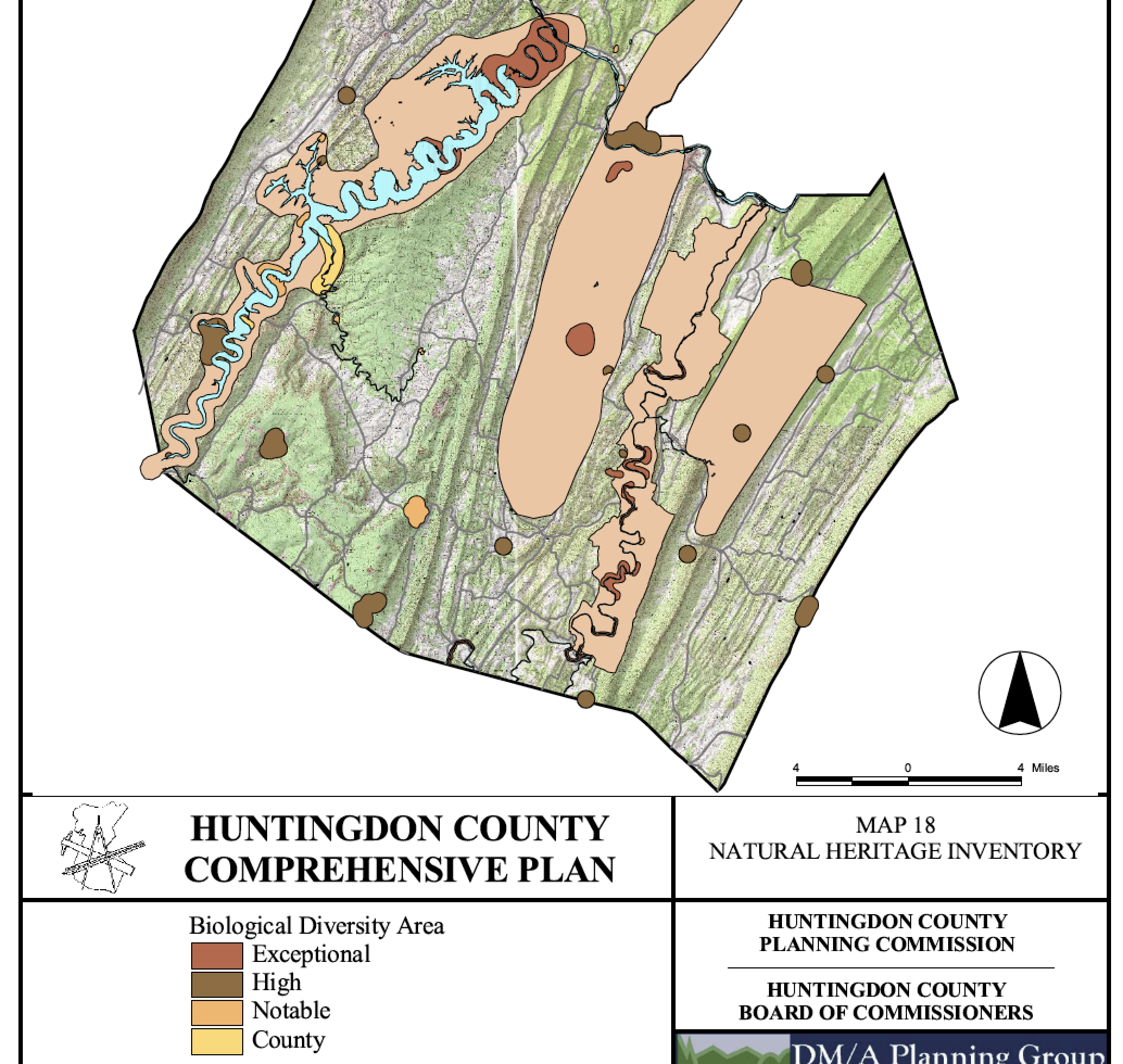 Map of the Lake Raystown area from the Huntingdon County Natural Heritage Inventory